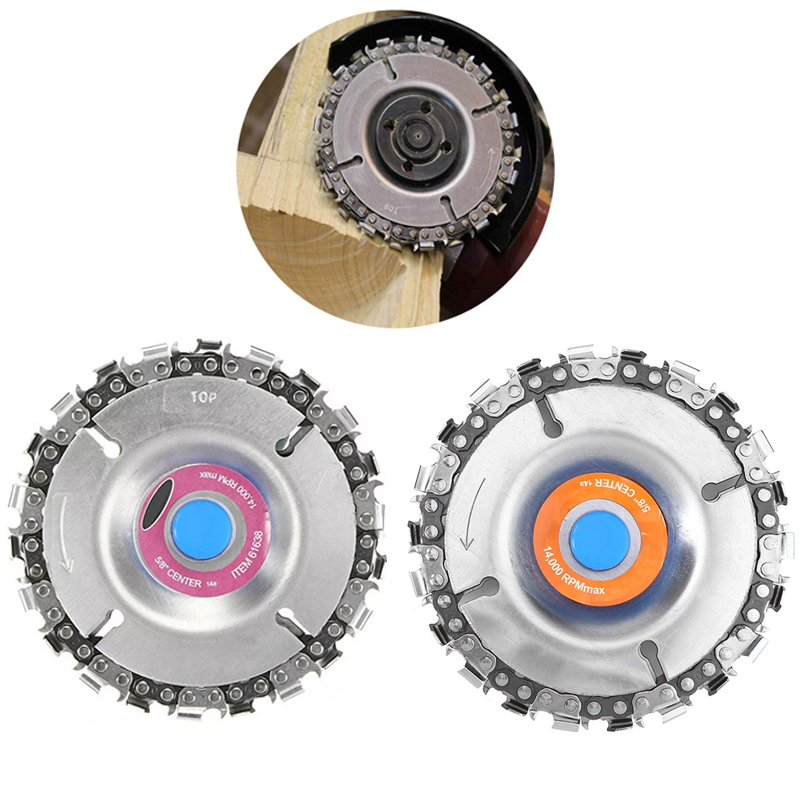 4 inch Wood Carving Disc Cut Chain 22 Tooth Grinder Disc Fine Chainsaw Set with Chains for 100//115 Angle Grinder Wooking Tools