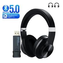 Fone de ouvido bluetooth + transmissor usb para tv pc ps4 aptx ll fone de ouvido sem fio over-ear ruído fone de ouvido estéreo de alta fidelidade com microfone