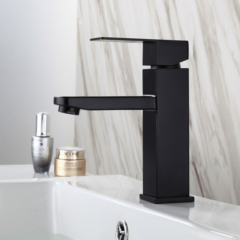 Bathroom Sink Faucet Single Handle Lavatory Faucet One Hole with Deck Mount Bathroom Sink Hot And cold Faucet Matte Black