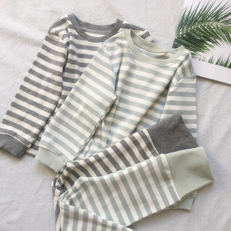Boys' Clothes CHILDREN'S Pajamas Autumn Homewear Set 1-5-Year-Old Male Baby Long Sleeve Stripes Two-Piece Set