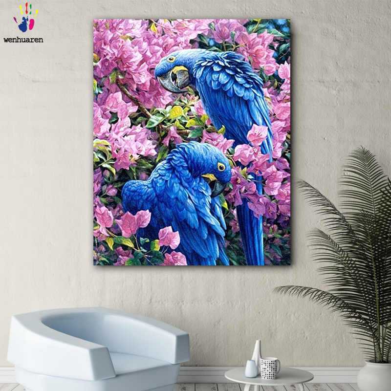 DIY Colorings Pictures By Numbers With Colors Blue Parrot Picture Drawing Painting By Numbers Framed Home