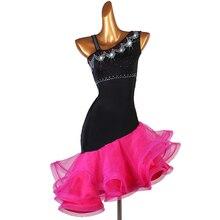 Robe de compétition de danse latine pour adultes/enfant, Costume de danse latine pour femmes/filles, vêtement de scène Sexy, jupe diamant, Samba/Salsa, DQL2943