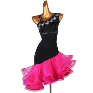Image 1 - Robe de compétition de danse latine pour adultes/enfant, Costume de danse latine pour femmes/filles, vêtement de scène Sexy, jupe diamant, Samba/Salsa, DQL2943