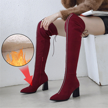 Plus Size 34-48 2020 New Shoes Women Boots Black Over The Knee Boots Sexy Female Autumn Winter Fashion Thigh High Heels Boots 2018 new shoes women boots black over the knee boots sexy female autumn winter lady elastic mesh thigh high boots size 35 39