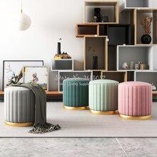 Роскошные скандинавские ткани Макарон цвет туалетный стул изменить обувь маленький диван Мода Гостиная 45*38 см