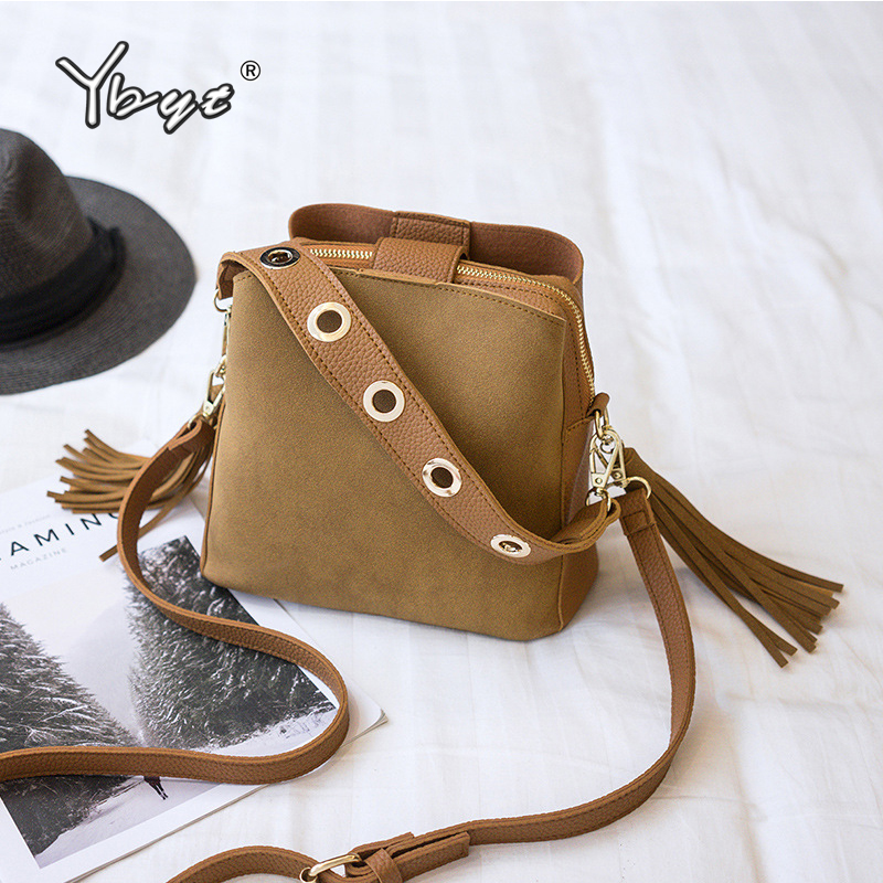 YBYT Nubuck PU Leather Women Bucket Bag Vintage Casual Wide Shoulder Strap Women Bag Crossbody Bag Hotsale Tassel Female Handbag