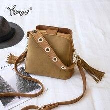 YBYT nubuck PU leather women bucket bag vintage casual wide shoulder strap women bag crossbody bag hotsale tassel female handbag