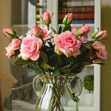 Casamento decoratio alta qualidade flores artificiais vívido real toque rosas artificial seda flor noiva decoração de casa 2 cabeças/buquê