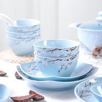 40Pcs/Set Ceramic Bowl Dish Pot Spoon Dinner Dish Plate Rice Salad Noodles Bowl Soup Plates Dinnerware Sets Kitchen Cooking Tool
