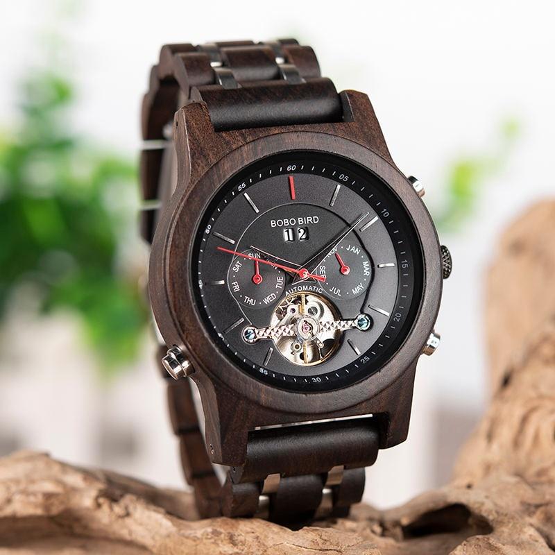 BOBO oiseau mécanique bois montre hommes femmes automatique montre bracelet en bois métal balancier horloge Relogio J Q27 - 4