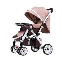 Alta paisagem carrinho de criança pode sentar reclinável luz dobrável bebê guarda-chuva quatro rodas carrinho de bebê