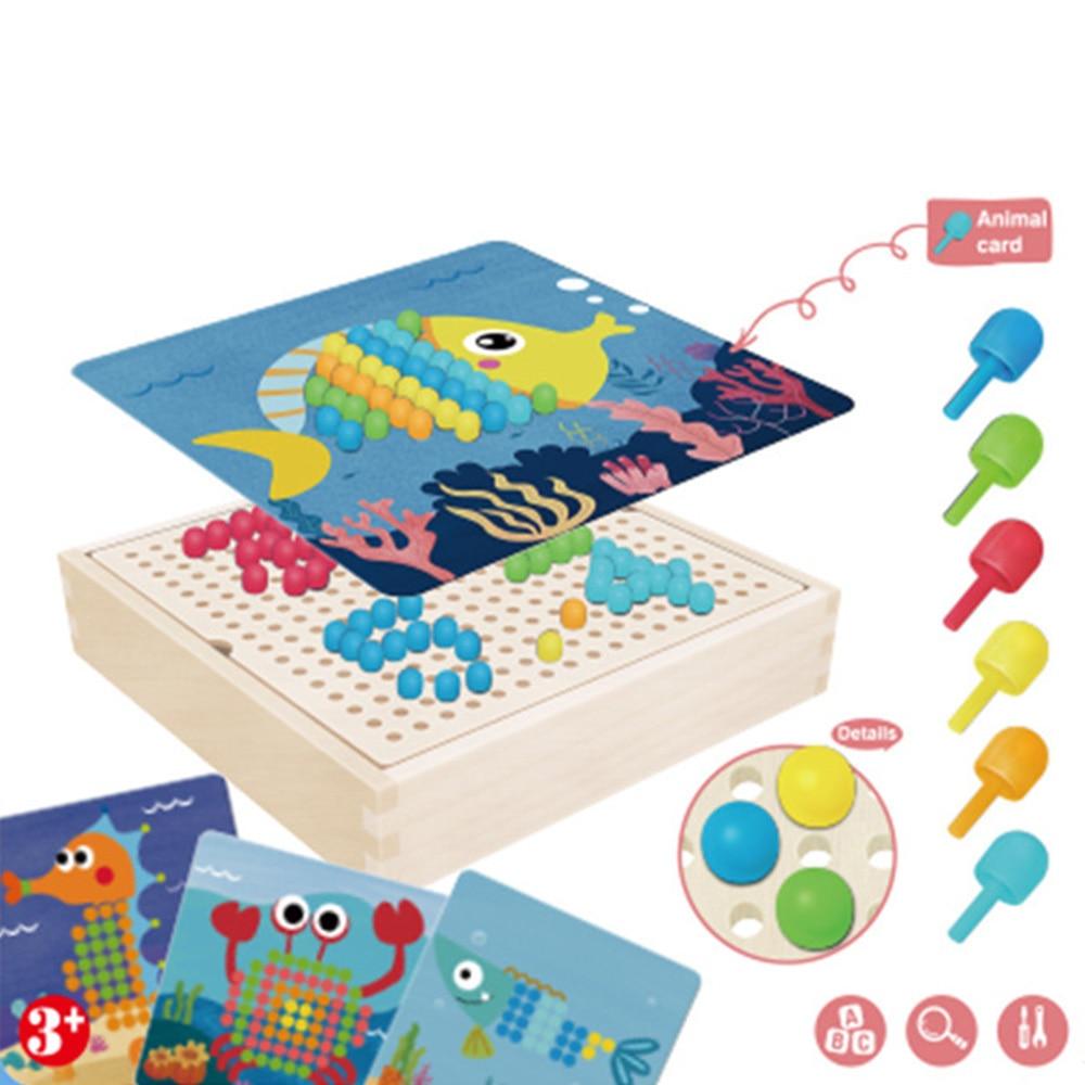 240pcs 3D Puzzle Games Mushroom Nail Intelligent  With Wood Storage Box Mosaic Peg Board Jigsaw Puzzle Kids DIY Educational Toys