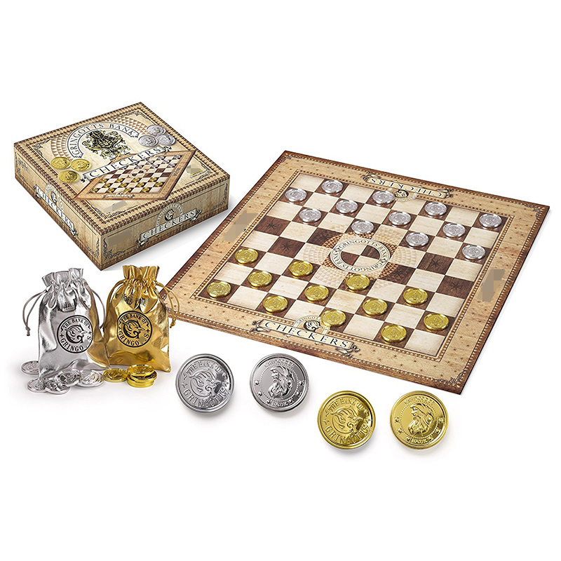 Harii jeu de société d'échecs Potter Gringots jeu de cartes de dames ensemble argent or pièces Fans édition Collector