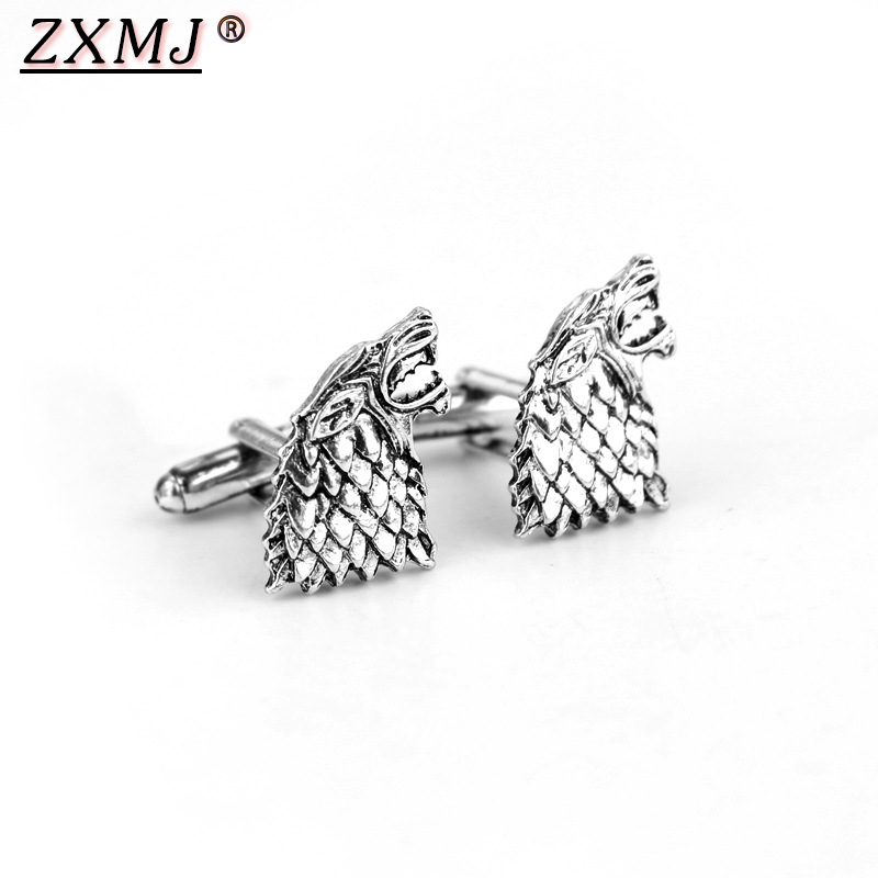 ZXMJ Game of Thrones <font><b>Wolf</b></font> Head <font><b>Cufflinks</b></font> For Men Women fashion Stark family badge Cuff Buttons A Song of Ice and Fire Cuff Links image