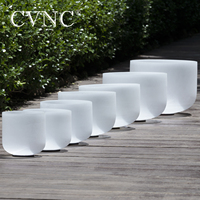 "CVNC 440Hz 7-12"" Set of 7pcs CDEFGAB Frosted Quartz Crystal Singing Bowls"