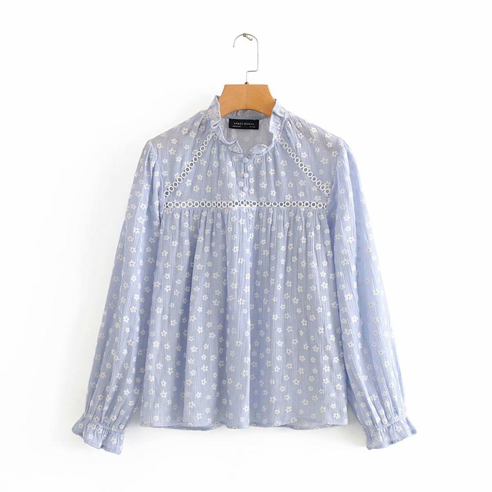 New 2020 Women Sweet Ruffled Collar Lace Stitching Casual Smock Blouse Ladies Chic Floral Embroidery Shirt Femininas Tops LS6528