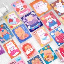 Autocollant lapin petit ours mignon, étiquette autocollante décorative, pour Journal intime Album, papeterie coréenne, 10 pièces/paquet