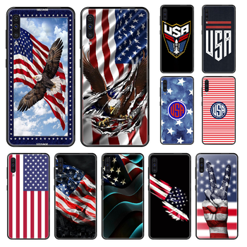 USA America Flag Phone case For Samsung Galaxy A 3 5 8 9 10 20 30 40 50 70 E S Plus 2016 2017 2018 2019 black 3D shell pretty image