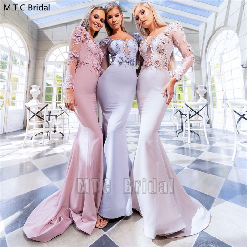New Long Sleeves Mermaid Bridesmaid Dresses Dusty Rose Appliques Flowers Plus Size Maid Of Honor Wedding Party Dress Cheap