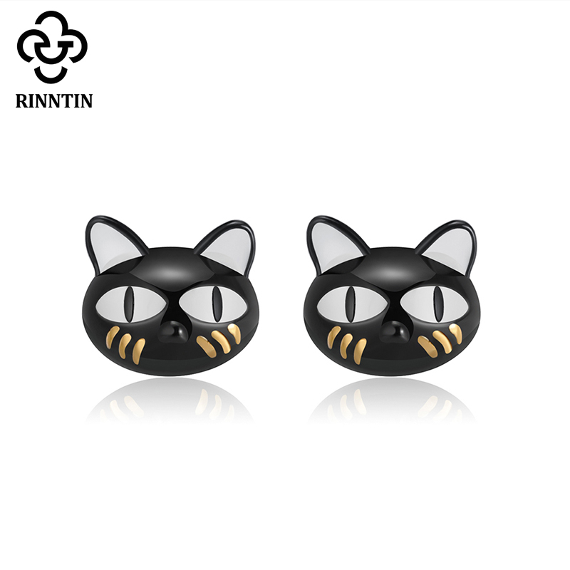Rinntin 100% Real 925 Sterling Silver Women Stud Earrings Creative Black Cat New Style Earring Party Jewelry Gift For Girl TSE89