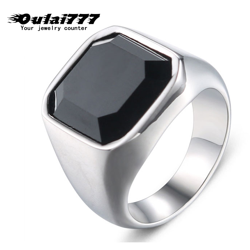 oulai777 2019 stainless steel mens rings for men Cool punk <font><b>wholesale</b></font> <font><b>lots</b></font> <font><b>bulk</b></font> signet male man ring black antique rings silver image
