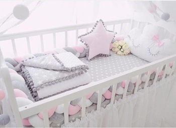 1-4M Cotton bed Bumper Protector cradle newborn bedding bed baby braid baby bed Protector for cot crib protector bumper for crib cotton newborn bedding sets folded pattern baby bumper bed aroundre movable wash cot sheet crib organizer quilt baby bedding