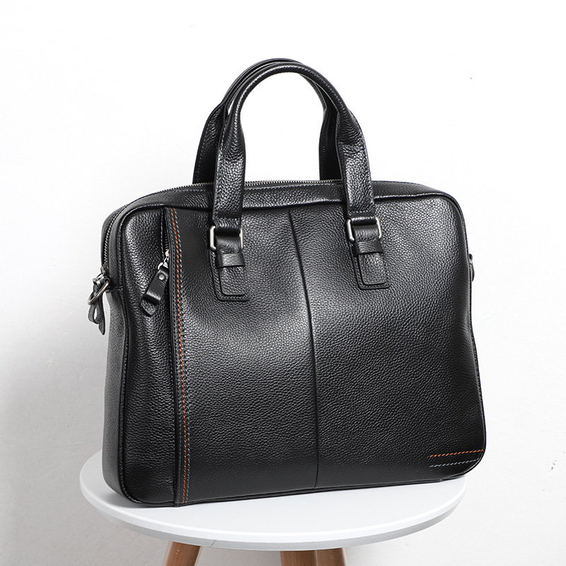 Solid Briefcase Genuine Leather Bag Men Messenger Leather Shoulder Laptop Bag 15 Maletines-hombre Buy Leather Men's Briefcase image