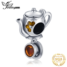 JewelryPalace 925 Sterling Silver Enamel Tea Coffe Cup Beads Charms Original Fit Bracelet original Jewelry