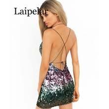 Радужное платье с блестками сексуальное женское открытой спиной