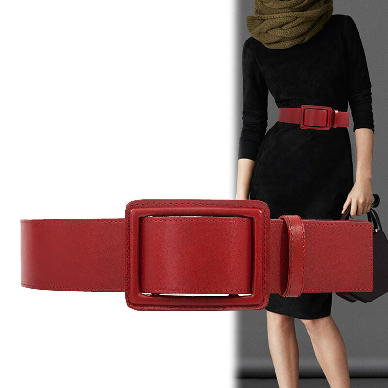 Simple Fashionable Cowhide Belt Lady Half Length Dress Wide Waistband Pure Waist Decoration Black And Red 4 Color Optional 1PCS