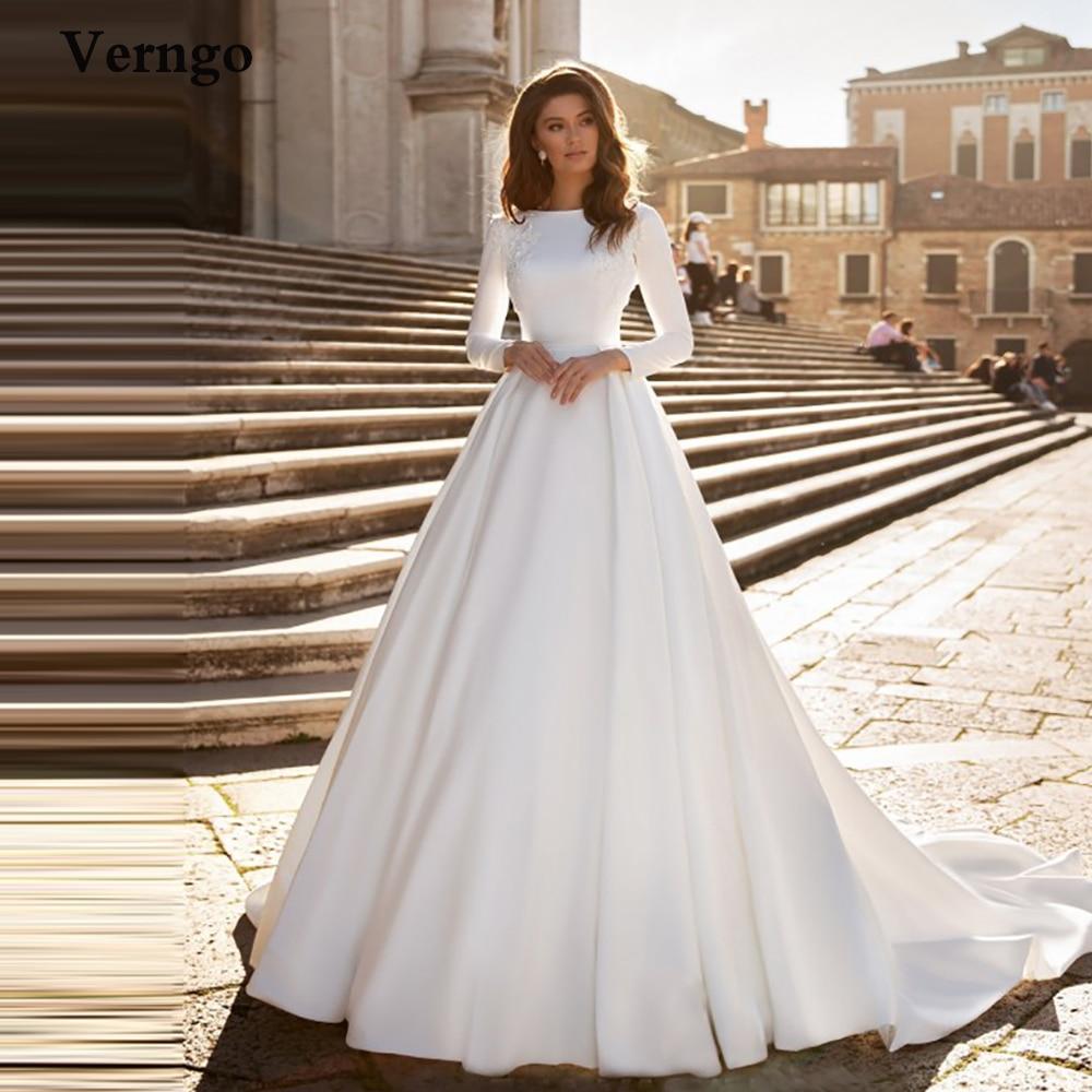 Verngo A Line Wedding Dress Ivory Satin Wedding Gowns Elegant Long Sleeve Bride Dress Abito Da Sposa 2020 Wedding Dresses Aliexpress