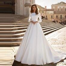 Verngo A line Wedding Dress Ivory Satin Wedding Gowns Elegant Long Sleeve Bride Dress Abito Da Sposa 2020