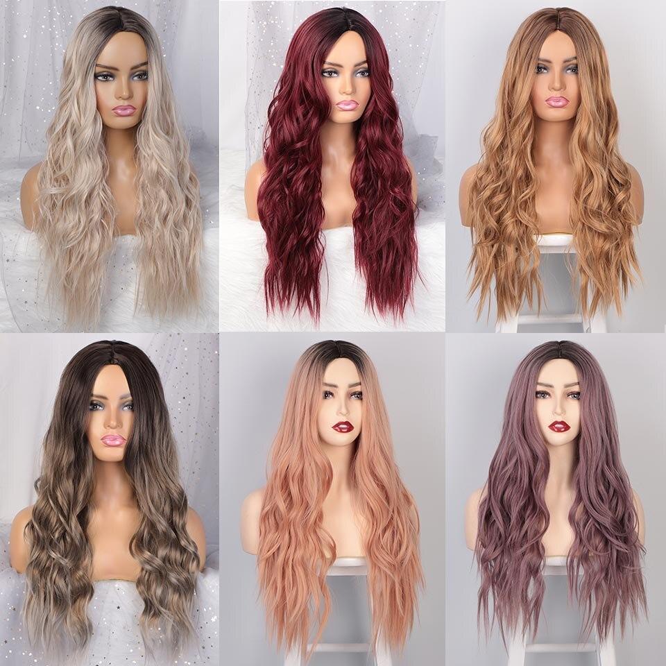 sintética, longa ondulada loira peruca para mulheres