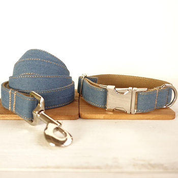 New Design special self-design custom Engraved metal buckle dog collar 5 sizes THE BLUE JEAN UDC003 image