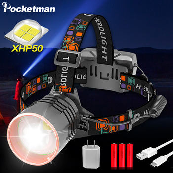 8000LM Powerful LED Headlamp XHP50 Zoomable Headlight USB Rechargeable Head Lamp Waterproof Hunting Camping Lanterna Torch 1
