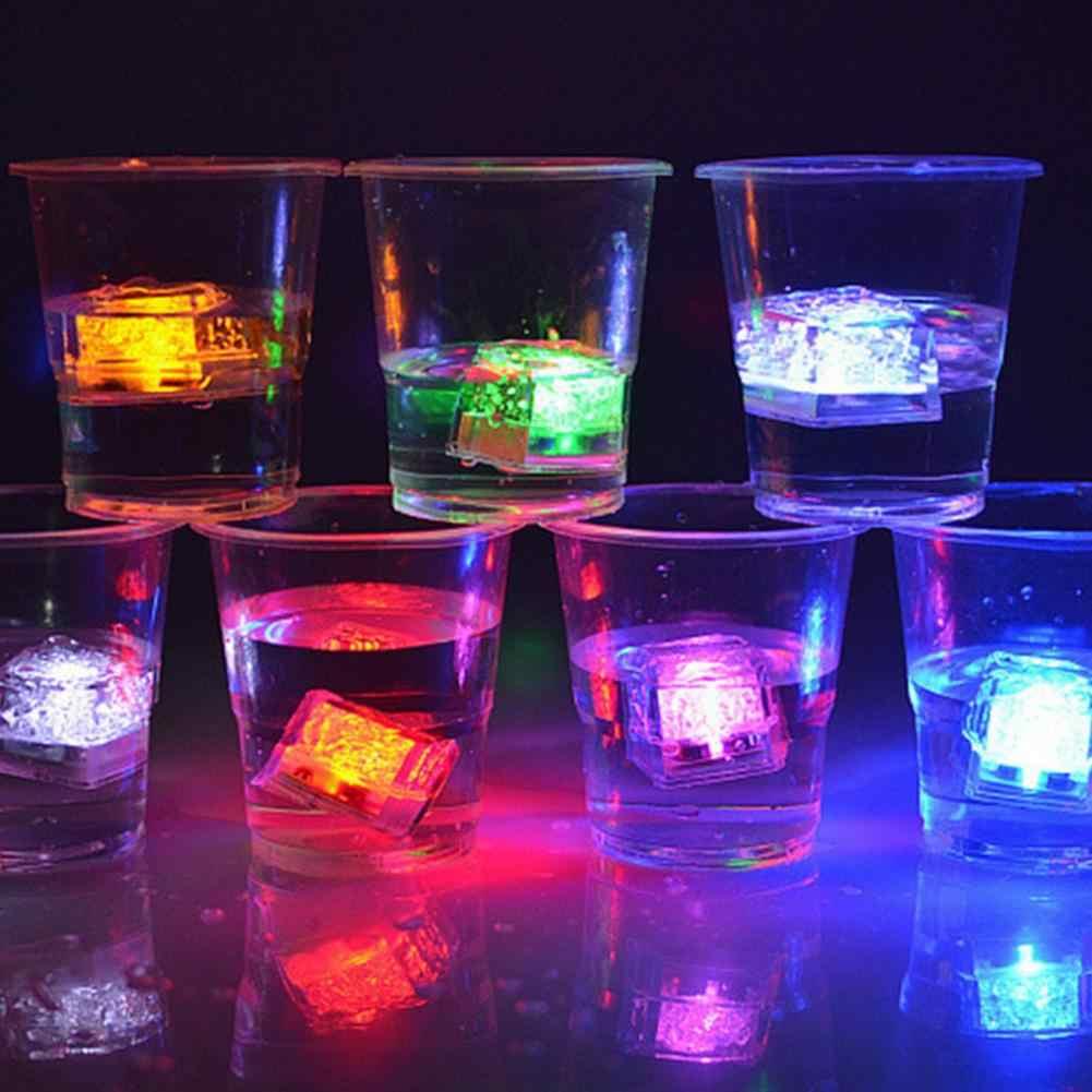 12 Uds cubos de hielo LED NeonParty DIY colorido Flash Prop luz luminosa decoración del Festival de la boda Navidad Bar decoración de vaso de vino