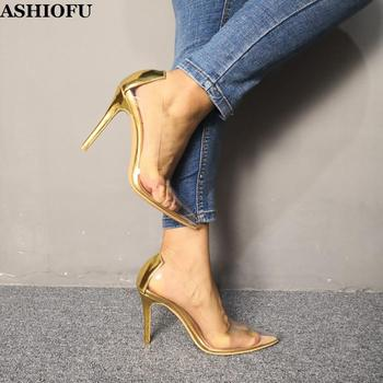 ASHIOFU New Handmade Ladies High Heel Pumps PVC Leather Sexy Party Prom Slip-on Shoes Pointy Evening Club Fashion Court Shoes