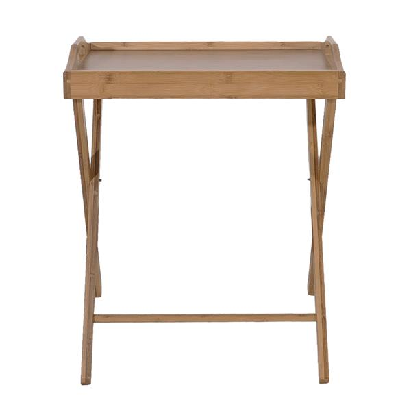 Portable Floor Standing Bamboo Folding Dining Table Snack Side Table Tray NEW