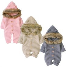 Baby Romper Winter Warm Newborn Baby Infant Kid Boy Girl Romper Hooded Jumpsuit Autumn Outfits Wool Clothes