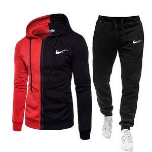 fashion 2 Pcs/Set Men's Tracksuit Gym Fitness Sports Suit Clothes Running Jogging Sport Wear Exercise Workout set sportswear