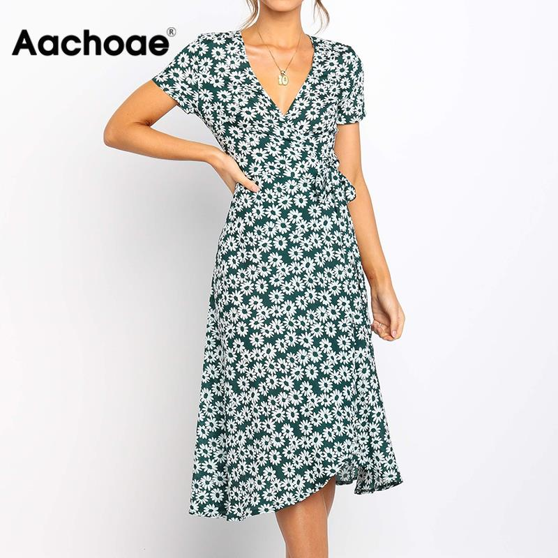 Women Summer Long Dress 2020 Boho Style Floral Print Beach Dress Short Sleeve Elegant Party Dress Bodycon Sundress Vestidos XXL