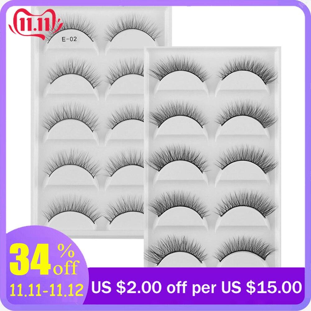 5 Pairs 3D Mink Hair False Eyelashes Super Natural Long Cross Fake Eyelash Charming Handmade Eye Lashes Makeup Extension Tools