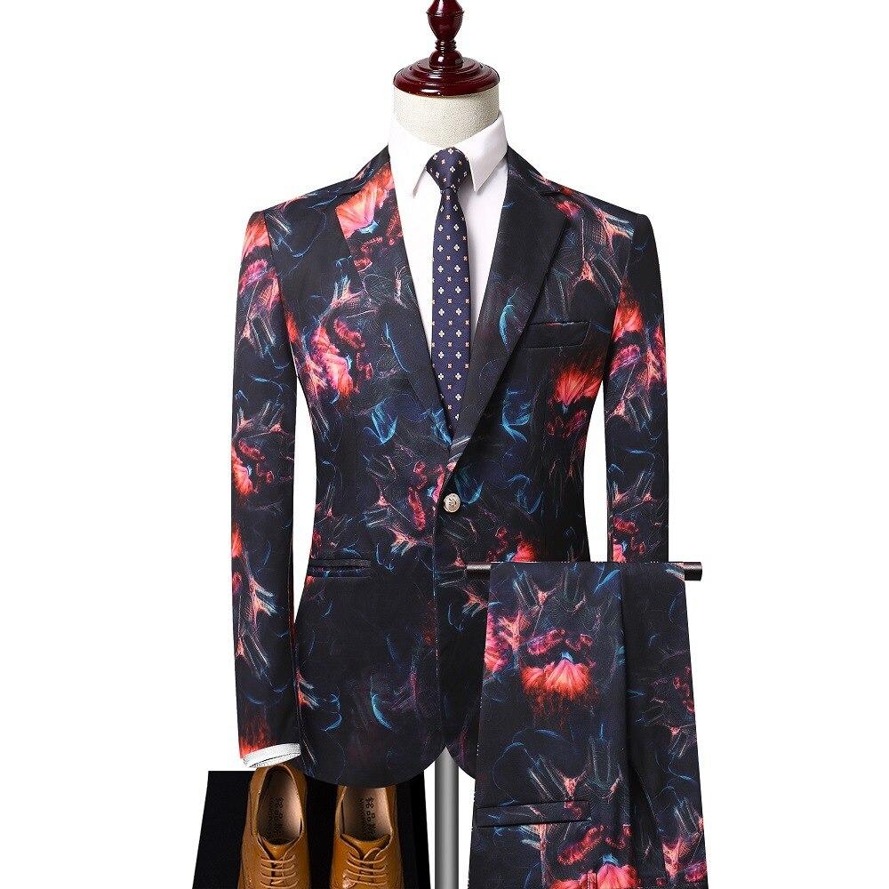 Men Suits  2020 New Men's 3D Printing Dress Suit Casual Slim Suit Two Pieces Men Suits