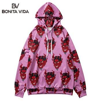 Bonita Vida Devil Printed Ukiyo E Pullover Sweatshirt Hoodies Streetwear Men Hip Hop Harajuku Japanese Punk Rock Casual Tops