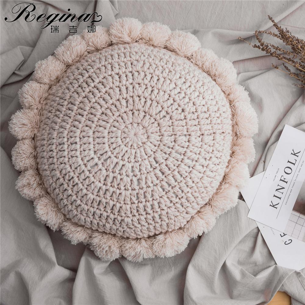 REGINA INS Cute Sunflower Throw Pillow Tassel Pompom Knitted Round Cushion Beige Home Decor Sofa Pillows Hand Rest Seat Cushions