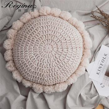 REGINA INS Cute Sunflower Throw Pillow Tassel Pompom Knitted Round Cushion Beige Home Decor Sofa Pillows Hand Rest Seat Cushions knitted cushions