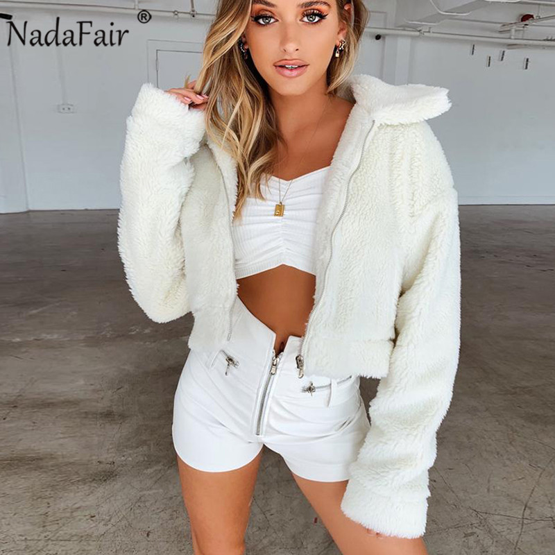 Nadafair Teddy Coat Fur Jacket Pockets Faux-Fur Female Plush Casual Thick Winter Autumn