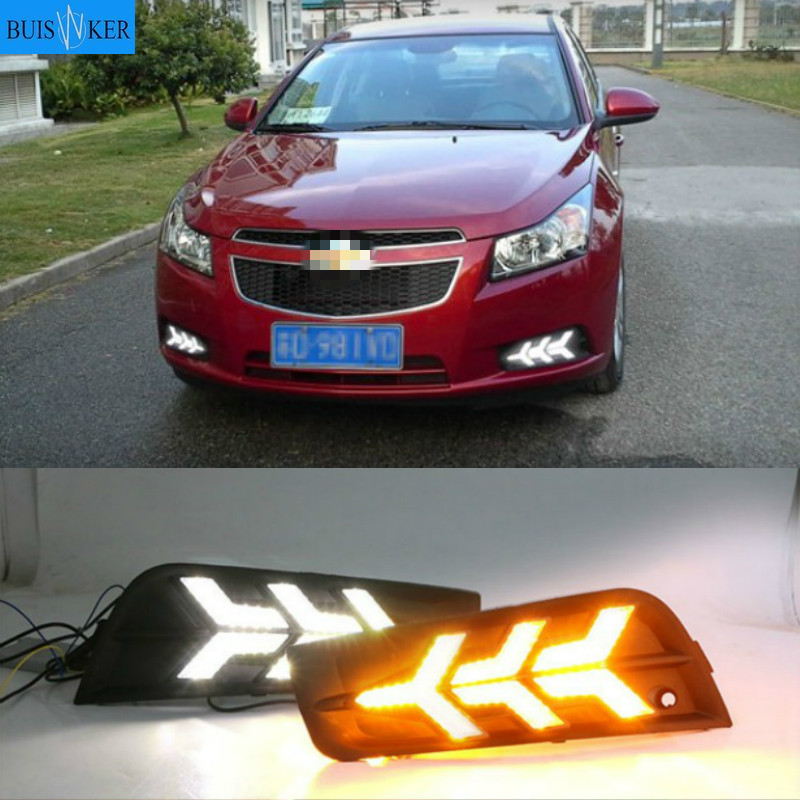 2PCS DRL Daytime <font><b>Running</b></font> <font><b>Light</b></font> fog lamp cover with yellow turn signal For <font><b>chevrolet</b></font> <font><b>cruze</b></font> 2009 2010 <font><b>2011</b></font> 2012 2013 2014 image
