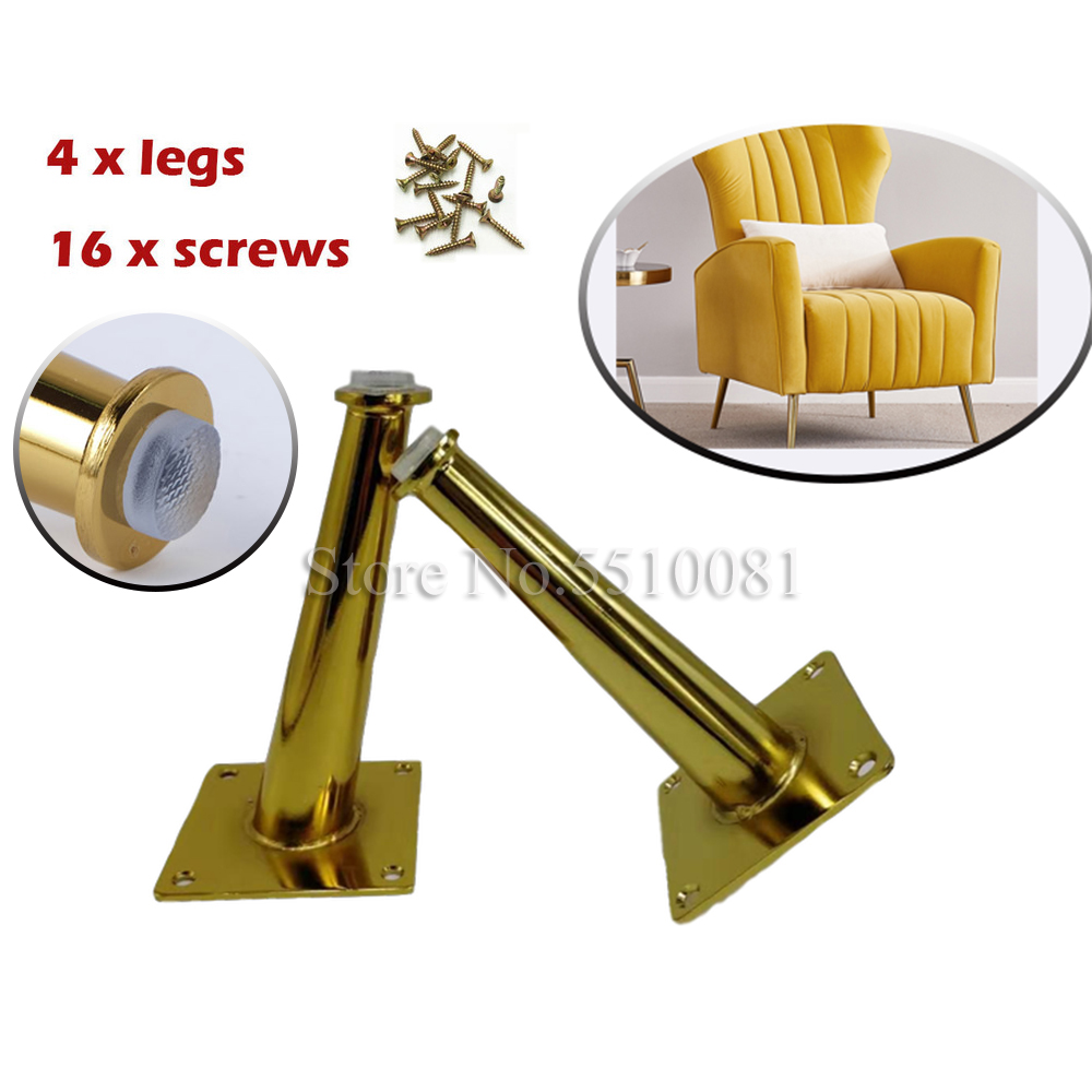 4Pcs 20cm/15cm Gold Furniture Table Legs Load  TV Cabinet Foot Sofa Leg Hardware Cabinet Feet  Tapered Leg Straight Cone
