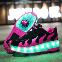 Children Pink Two Wheels Luminous Glowing Sneakers Grey Pink Led Light Roller Skate Shoes Kids Led Shoes Boys Girls USB Charging